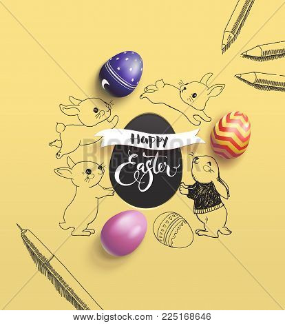 Happy Easter holiday wish surrounded by lovely baby bunnies, colorful decorative eggs, pen and pencil on yellow background. Vector illustration for print design, festive children's event invitation