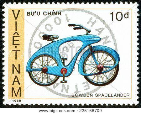 Ukraine - circa 2018: A postage stamp printed in Vietnam show Bicycle Bowden spacelander. Series: Bicycles. Circa 1988.