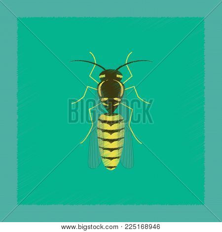 flat shading style illustration of insect wasp