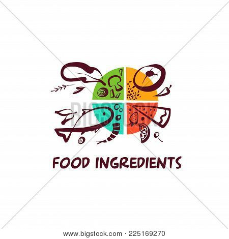 Food ingridients. Sketch vector template logo isolated on white background. Concept image for menu cafe, restaurant, bar with eco farm product.
