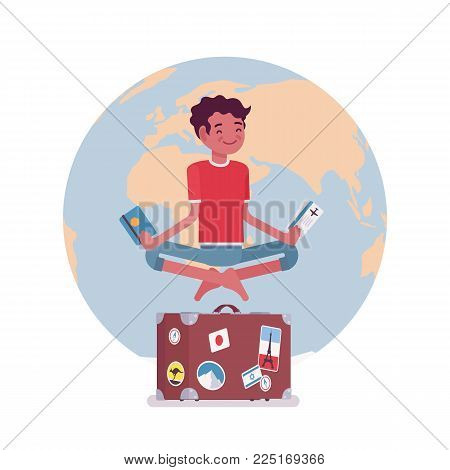 Young man waiting for vacation. Male tourist hovering in the air in easy pose dreaming of long desired rest, holiday wish come true. Vector flat style cartoon illustration isolated on white background