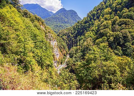 Gorge of the river Psou. Border of Russia and Abkhazia