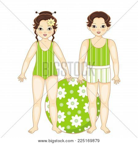 Vector flat asian brunette boy girl kids friends standing in summer swimsuit smiling with inflatable ring with flowers. Male, female character happy expression. Isolated illustration, white background