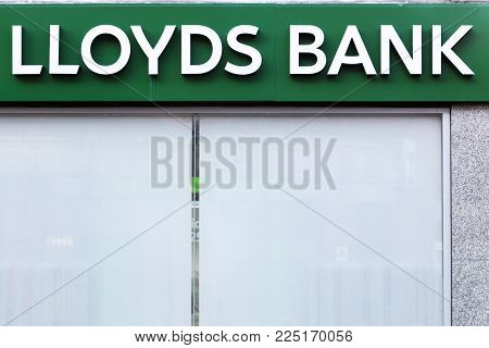 London, United Kingdom - February 1, 2018: Lloyds Bank logo on a wall. Lloyds Bank is the largest retail and commercial bank in Great Britain