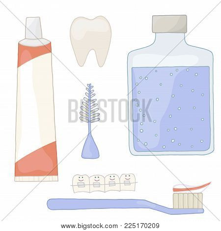 Oral health with braces. Crooked teeth are straight. Set for hygiene. Recommendations orthodontist. Orthodontics vector. Toothpaste, toothbrush, brush, rinse