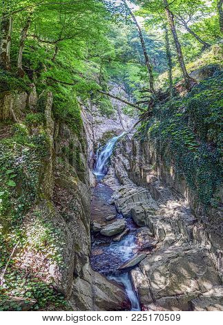 Stone gorge of the waterfall Chashevy. Near Sochi, Russia