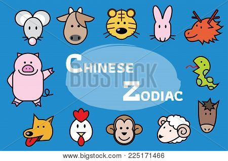 Chinese zodiac animal icons. Chinese Zodiac Signs Icons Set. Cute cartoon Chinese zodiac set. Vector illustration in cartoon style. All in a single layer. Vector illustration.