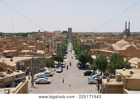YAZD, IRAN - JUNE 17, 2007: View to the historical part of the city from the minaret of Jameh mosque in Yazd, Iran.