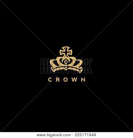 royal golden crown logo on black background with typography vector illustration.