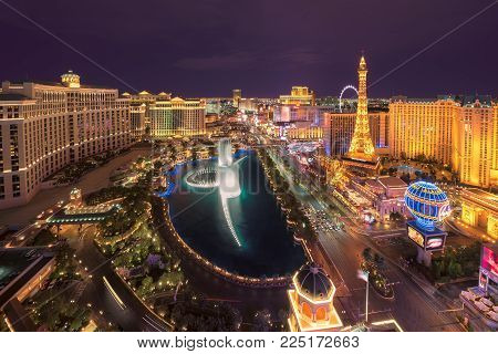 Aerial view of Las Vegas Strip skyline at night on July 25, 2017 in Las Vegas, Nevada. The Strip is home to the largest hotels and casinos in the world.
