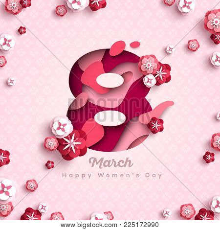 Happy Women's day pink greeting card. Postcard on March 8. Number eight with paper cut flowers and abstract shapes. Vector illustration.