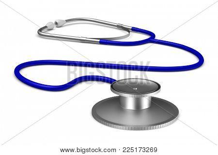 stethoscope on white background. Isolated 3D illustration