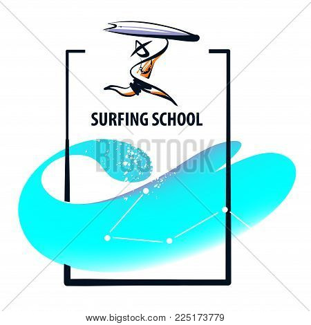 Silhouette freehand drawn man with surfboard. Sketch template logo for surf trip. Element design banner, poster for surfing school business. Minimalist modern sign.