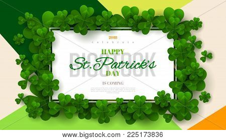 Saint Patrick's Day card with rectangular frame, green four and tree leaf clovers on colorful modern geometric background. Vector illustration. Place for your text.