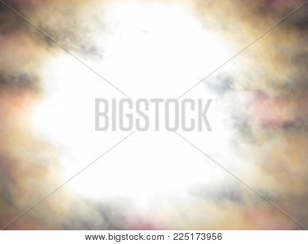 Background texture of light effects on clouds. Lens flare during a solar eclipse causing blown center, and a mix of colors darkening at edges in billowing clouds. Copy space.