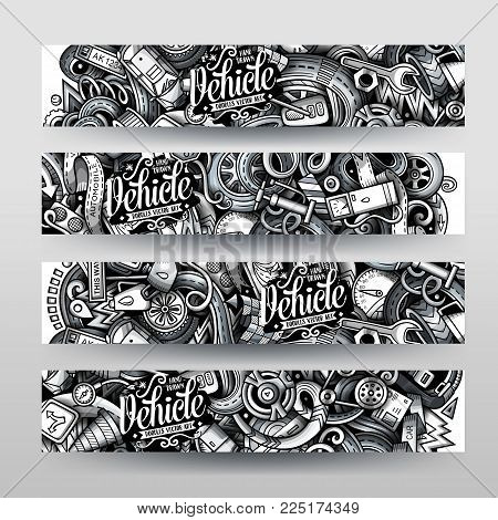 Cartoon graphics vector hand drawn doodles automotive corporate identity. 4 horizontal banners design. Templates set