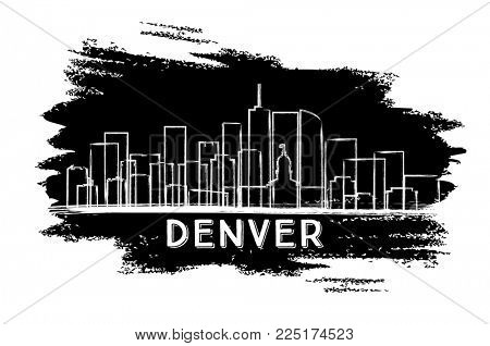 Denver Colorado USA City Skyline Silhouette. Hand Drawn Sketch. Business Travel and Tourism Concept with Modern Architecture. Denver Cityscape with Landmarks.