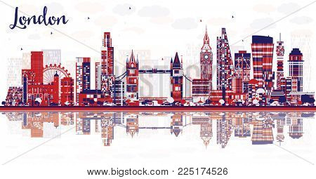 Abstract London England City Skyline with Color Buildings and Reflections. London Cityscape with Landmarks.