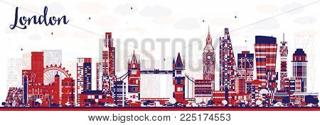 Abstract London England City Skyline with Color Buildings. London Cityscape with Landmarks.