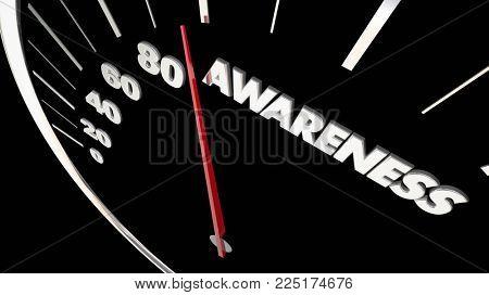 Awareness Speedometer Increase Knowledge 3d Illustration
