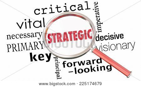Strategic Planning Magnifying Glass Word Collage 3d Illustration