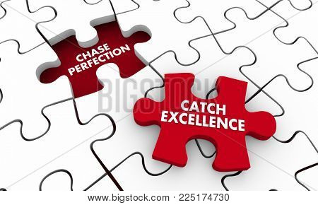 Chase Perfection Catch Excellence Puzzle Piece 3d Illustration