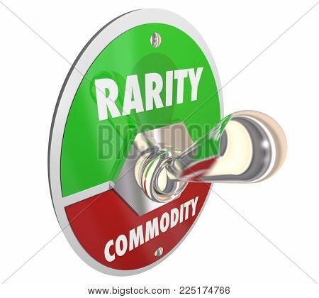 Rarity Vs Commodity Toggle Switch Rare 3d Illustration