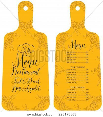 Vector template restaurant menu in the form of cutting board with price list, chef hat, cutlery, curls and handwritten inscriptions in art deco style on yellow background