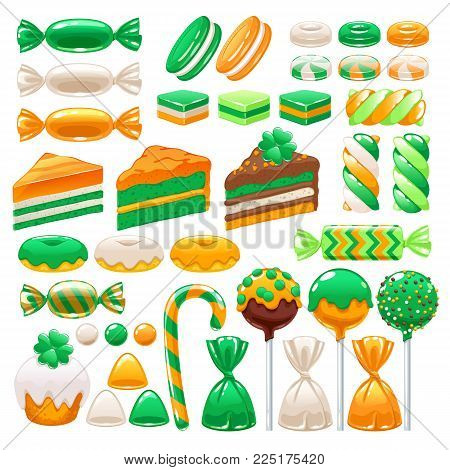 St. Patrick's day sweets set - marshmallow, cream cakes, hard candy, dragee, cake pop, toffee, jelly, donuts, cupcake peppermint candy chocolate vector illustration