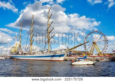 Szczecin, Poland - August 06, 2017: STS Mir, three-masted full rigged training ship at the final of The Tall Ships Races 2017 in Szczecin seen from Odra River.