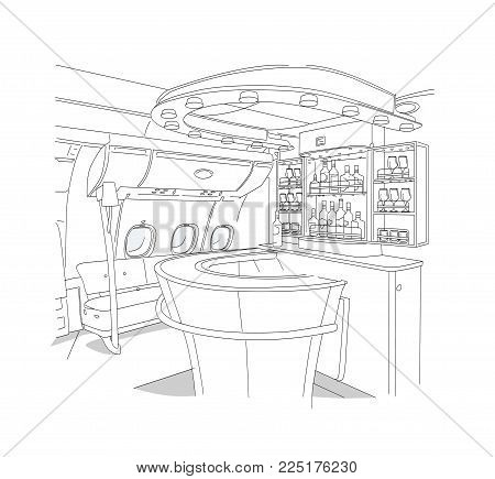 Linear drawing of the bar interior of  bar business-class aircraft.  Isolated on white background
