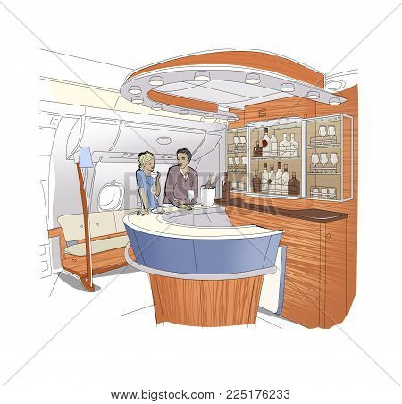 People in the bar business-class aircraft. Young woman and man talking at a bar counter. Linear drawing of the bar interior. Isolated on white background