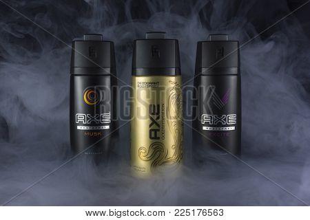 Amman, Jordan-february 1, 2018:photo Of Spray Of Axe Deodorant - Spray Axe Is The Most Popular Favor