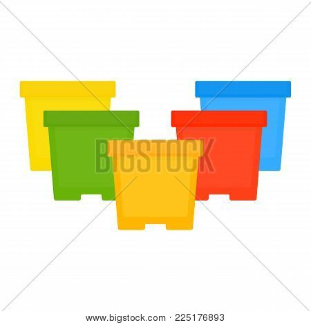 Vector illustration of multicolored flower pots isolated on white background. Plastic flower pot in flat style. Gardening equipment.