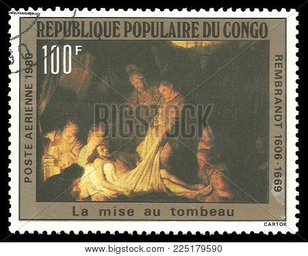 Congo - circa 1980: Stamp printed by Congo, Color edition on Art, shows Painting The Burial by Rembrandt, circa 1980