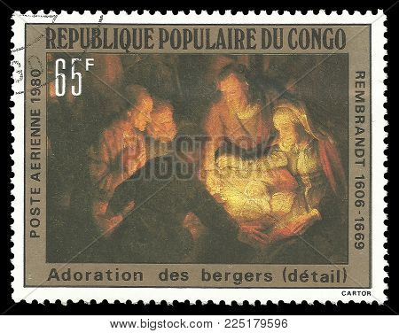 Congo - circa 1980: Stamp printed by Congo, Color edition on Art, shows Painting Adoration of the Shepherds by Rembrandt, circa 1980
