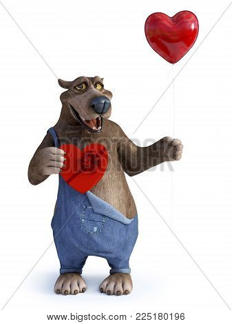 3D rendering of a charming smiling cartoon bear holding a heart shaped red balloon in one hand and a chocolate box in the other. Ready for Valentines day! White background.