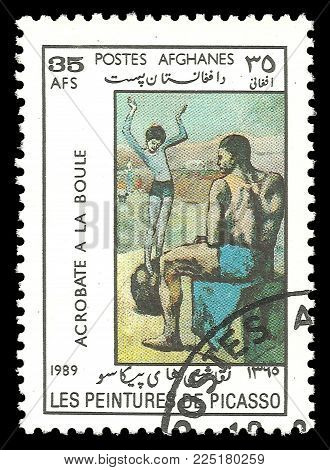 Afghanistan - circa 1989: Stamp printed by Afghanistan, Color edition on Art, shows Painting Girl on the ball by Pablo Picasso, circa 1989