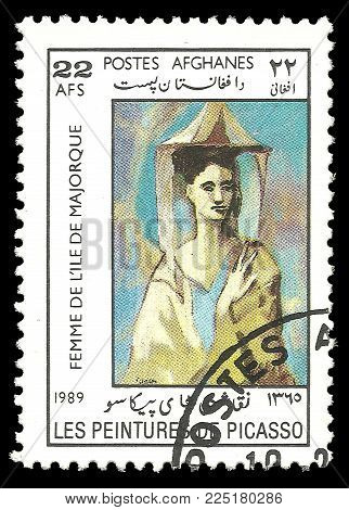 Afghanistan - circa 1989: Stamp printed by Afghanistan, Color edition on Art, shows Painting Mallorcan by Pablo Picasso, circa 1989