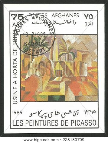 Afghanistan - circa 1989: Souvenir sheet printed by Afghanistan, Color edition on Art, shows Painting Brick Factory at Tortosa by Pablo Picasso, circa 1989