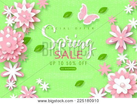 Spring sale banner. Beautiful Background with paper flowers. Vector illustration for website , posters, email and newsletter designs, ads, coupons, promotional material