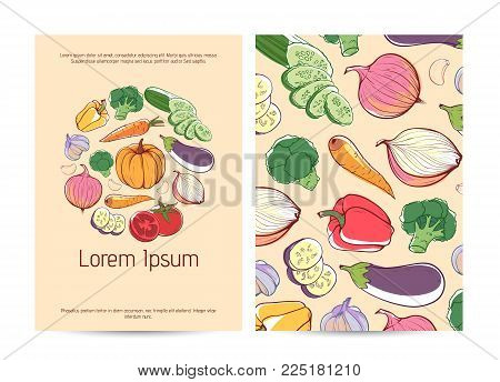 Healthy Food Poster Template With Fresh Vegetables. Natural Organic Nutrition, Vegan Eco Cafe Menu D