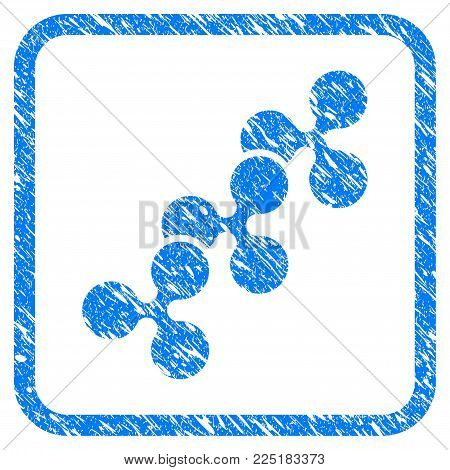 Ripple Chain rubber seal stamp imitation. Icon vector symbol with grunge design and corrosion texture in rounded frame. Scratched blue emblem on a white background.