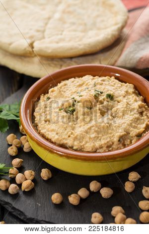 Hummus, dip of spread, everyday meals in Israel made from chickpeas and ingredients that, following Jewish dietary laws Kashrut, can be combined with meat and dairy meals