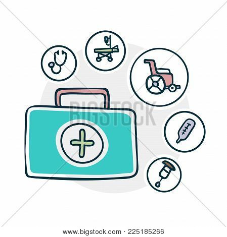 medical supplies icon . Illustration of a funny cartoon style