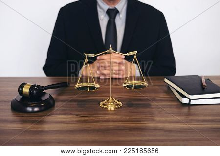 Judge Gavel With Scales Of Justice, Male Lawyers Working Having At Law Firm In Office. Concepts Of L