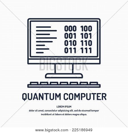 Quantum computer, analysis and data transfer. Vector illustration
