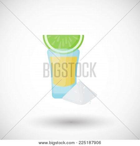 Tequila shot with lemon and salt flat vector icon, Flat design of Mexican beverage, blue agave product or bat object with round shadow, cute vector illustration with reflections