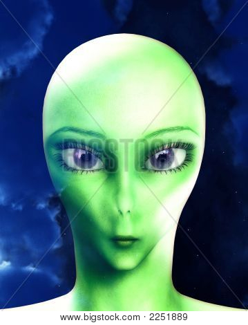 An portrait of the face of an alien lifeform. With a cloud background. poster