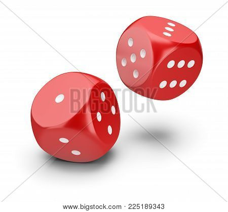 Two red dice. 3d image. White background.